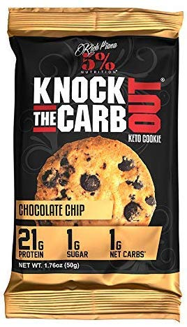 Rich Piana Knock The Carb Out Keto Cookie 50 g - 5% Nutrition I Keks I Keto Diät I 21 g Protein I Komplexe Kohlenhydrate I Wenig Zucker (Chocolate Chip, 1 x 50 g)