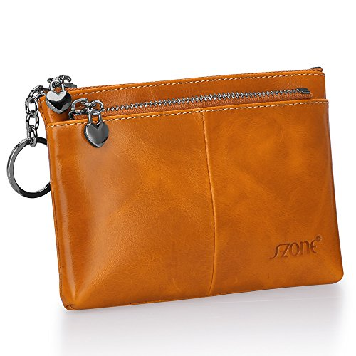 S ZONE Womens Genuine Leather Mini Wallet Change Coin Purse Card Holder with Key Ring
