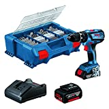 Bosch Professional 18 V System Taladro Percutor a Batería GSB 18 V-28, 1 Batería 2.0 Ah, 1 Batería 4.0 Ah, Cargador GAL 18 V-20, L-Case Pick & Click con Set Accesorios de 100 uds, Amazon Exclusive Set