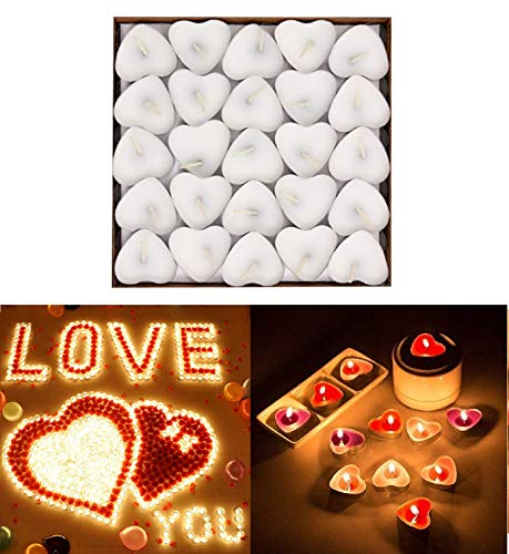Harmony NM 50pcs Heart Shaped Candles, Smokeless Tealights Candle, Tea Light Candles for Birthday, Proposal, Wedding, Party, Red, Wedding Engagement, Valentines Day, Halloween (WHİTE)