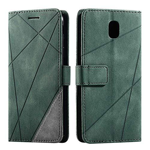 Hülle für Samsung Galaxy J5 2017, SONWO Premium Leder PU Handyhülle Flip Case Wallet Silikon Bumper Schutzhülle Klapphülle für Galaxy J5 2017, Grün