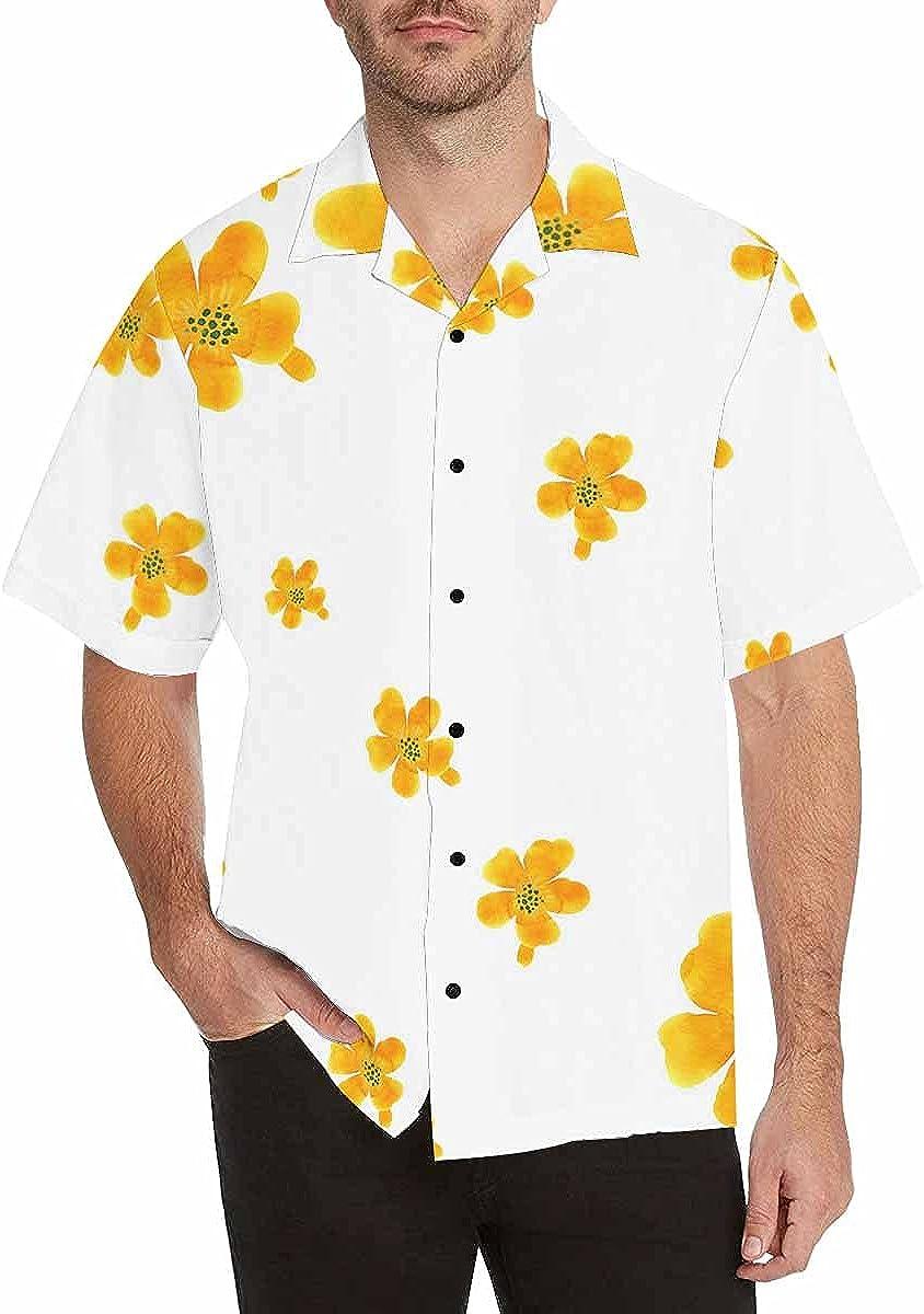 InterestPrint Men's Casual Button Down Short Sleeve Abstract Tie Dye Hawaiian Shirt (S-5XL)
