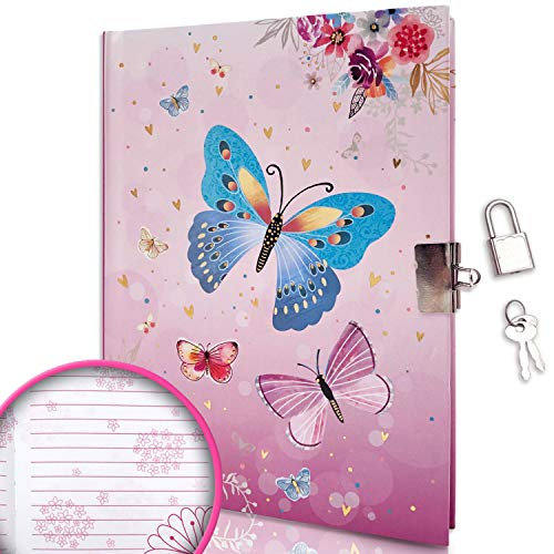 GINMLYDA Kids Diary with Lock for Girls, 7x5.3 Inch 160 Pages Girls Notebook for Writing Drawing (Butterfly)