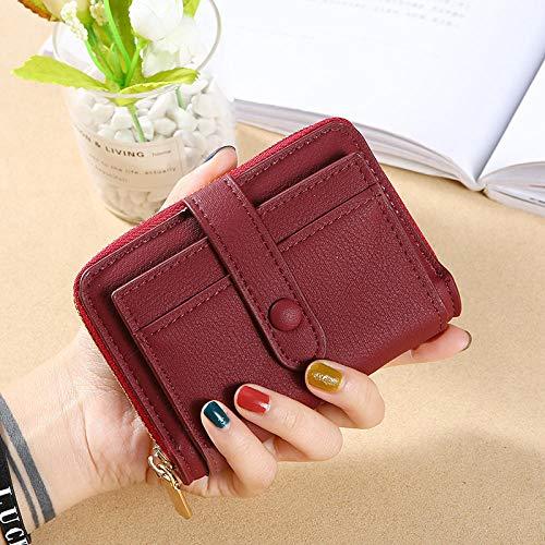 Dames portemonnee lang kleine wisselkaartverpakking vouwbare mini-brievenbus, rood (rode wijn) (rood) - 9875376071517