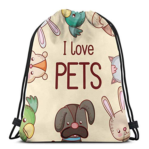 Lsjuee I Love PetsDrawstring Backpack Sports Fitness Backpack Waterproof Men's and Women's Waist Bag Travel Yoga Beach School