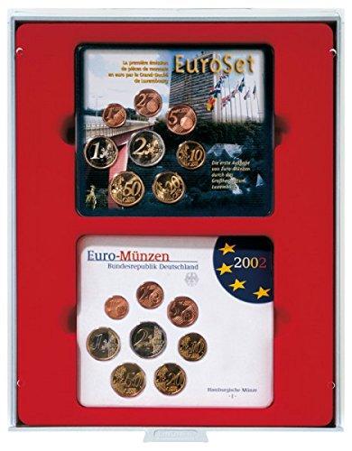 LINDNER Das Original d-Box Standard à 2 alvéoles rectangulaires 140 x 123 mm pour 2 x 5 séries Euro courantes Allemagne en Fleur de Coin (jusqu'à 2014)