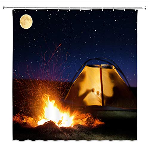 Viccc Red Tent Camping Shower Curtains Bath Wild travel Curtain Polyester Waterproof Bathroom Curtain Or Mat