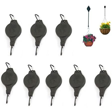 8Pcs Retractable Plant Pulley, Adjustable Heavy Duty Hanging Hooks Ornament Plant Hangers for Home Garden Hanging Planters, Hanging Basket Flower Baskets and Bird House (8 pcs)