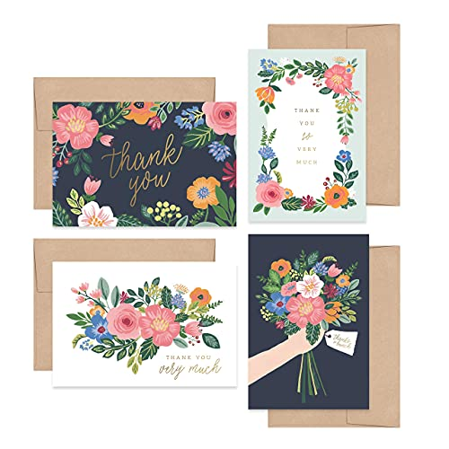 Bliss Collections Thank You Cards with Kraft Envelopes, Pack of 24 Pretty Gouache Floral Design, 4 x 6 Folded, Tented for Wedding, Bridal Shower, Baby Shower, Birthday or Just to Say Thanks Card