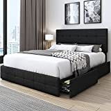 Kealive Upholstered Platform Bed Frame with 4 Storage Drawers, Adjustable High Headboard with Button Tufted Design, Wooden Slat Support, No Box Spring Needed, Easy Assembly, Queen Size, Dark Grey
