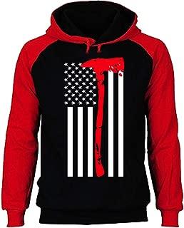 Thin Red Line Axe US Flag Baseball Hoodie Raglan Firefighter Sweatshirt