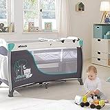 Hauck Sleep N Play Center 3, Reisebett 7-teilig ab Geburt bis 15 kg, faltbar und kippsicher, Neugeborenen Einhang, Wickelauflage, seitlicher Ausstieg, Netztasche, Räder, Transporttasche, türkis - 18