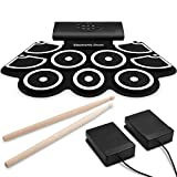 9-Pads Electronic Drum Set, Thickened Hand Roll Up Drum Practice Pad, Built in