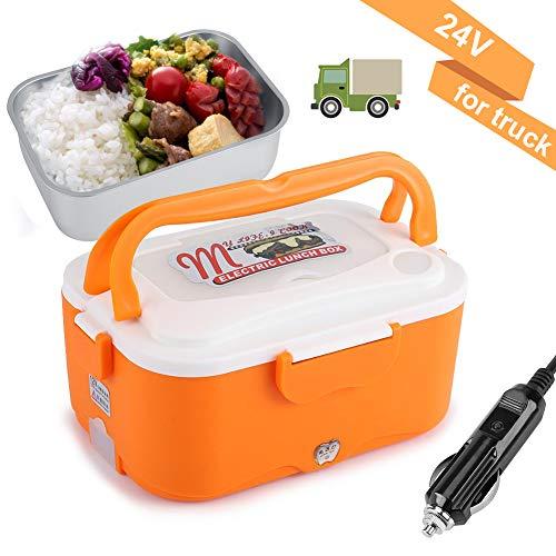 Riscaldamento Lunch Box 45W Scatola Pranzo Riscaldamento Elettrico Dell'automobile 1.5L Stufa Pranzo Portatile Contenitore Scaldavivande Con Scatola Principale Piccolo Piatto Coppia (24V-Orange)