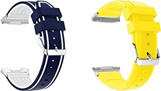 Arkgo コンパチブル Fitbit Ionic 時計バンド スポーツバンド 交換ベルト 柔らかいシリコン素材 耐衝撃 防汗 (青と白 + 黄)