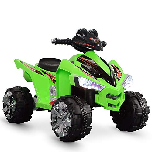 Kidzone Kids Ride On ATV Car 12V Battery Powered 2 Speed Kid Quad Bike LED Headlights ASTM F963 Certified, Green