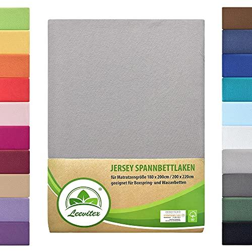 leevitex Colours SPANNBETTLAKEN | WASSERBETTEN & BOXSPRINGBETT | SPANNBETTUCH | ÖKO-TEX | 180x200 – 200x220 cm | 100% Jersey-Baumwolle | 150 g/m² | 40 cm Steg | Mittelgrau