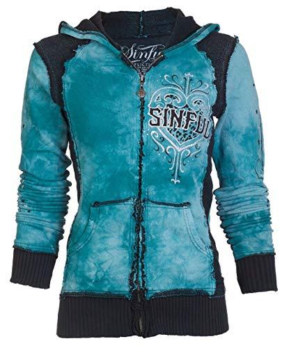 Affliction Sinful Womens Hoodie Sweatshirt Zip UP Jacket Blitzkrieg Wings (Small) Black