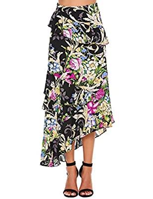 Zeagoo Women A-Line Irregular High-Low Ruffle Pleated Casual Lotus Leaf Maxi Long Skirt