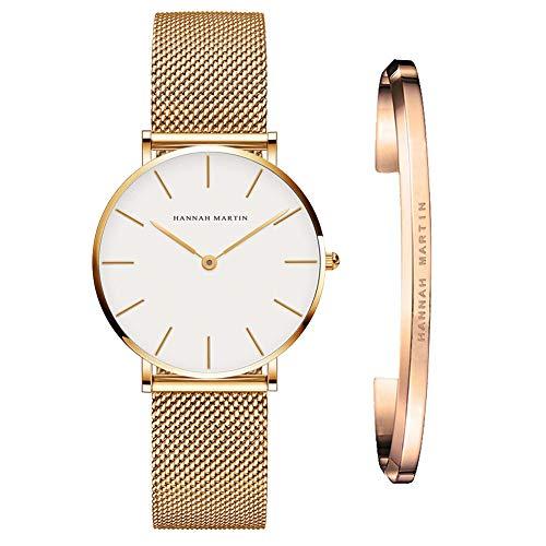 Hannah Martin Relojes Mujer De Cuarzo Minimalista Impermeable Reloj De Pulsera para Mujer con Correa De Malla con Brazalete (CB36-WJJ0)