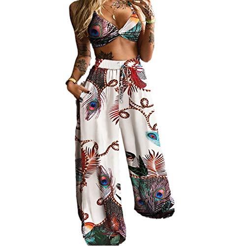 Conjunto de 2 camisetas de mujer con cuello en V sin mangas, camiseta de cintura alta, pantalones largos, camiseta de tirantes y pernera ancha, pantalones deportivos Pavo Blanco S