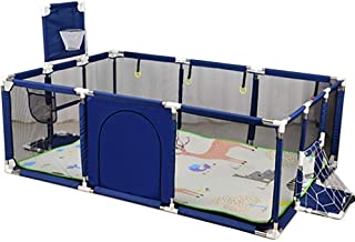 SKY-TOUCH-Large Toddler Babys Playpen for Twin, Foldable Safety with Basketball Hoop, Extra Tall 66cm,(Color: Blue)-Only b...