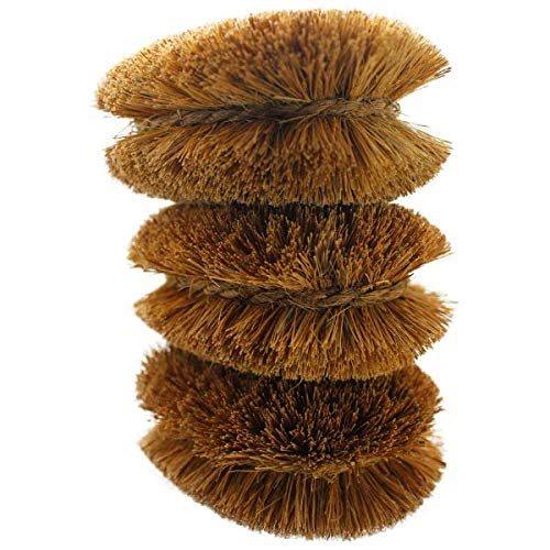 Pack of 3 Tawashi Vegetable Brushes Natural Coconut Fiber, Japanese design, Ideal for Fruits, Veggies and Household use with Wire Hanging Loop