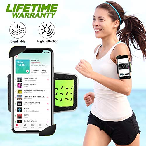 Sinkry Cell Phone Armband, Phone Holder for Running, Sports Arm Bands for iPhone 11 Pro Max/X XR XS Max/ 8 Plus/7 Plus/6S Plus/6 Plus and 4~6.5 Inch Phones (Green)