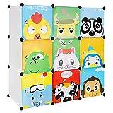 Bamny Meuble Rangement Enfant 9 Cubes, Support de Rangement pour Vêtements,...