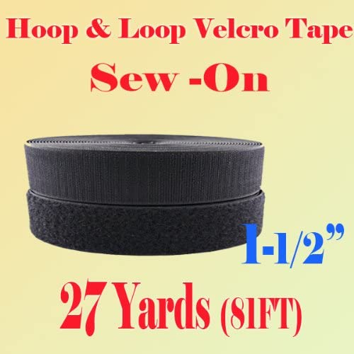 "Black 1 YARD VELCRO® BRAND Hook and Loop Fastener 1/"" Wide IRON ON Type"