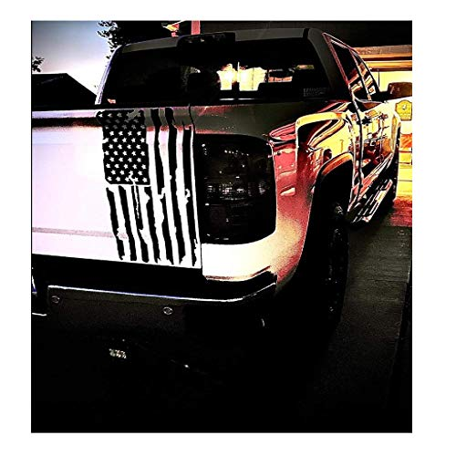 Vertical Distressed American Flag Tailgate Decal-one Size fits Most