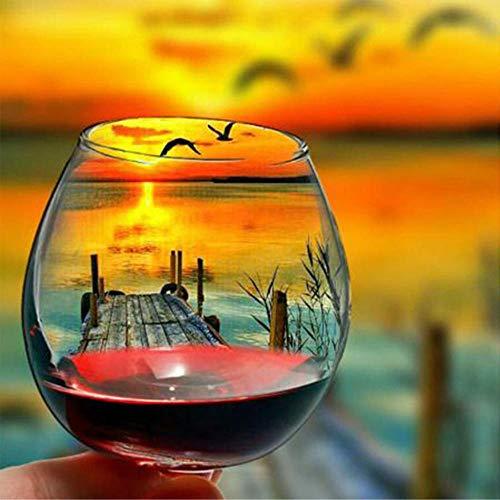 5DDiamondPainting Lago al atardecer copa de vino tinto 5D Kit de pintura de diamante,Bordado de punto de cruz de diamantes de imitación Artesanía30x40 cm(Sin marco)