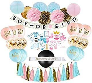 Gender Reveal Party Supplies (75 Pieces) with Photo Props, 36 Inch Reveal Balloon and Sash - Premium Baby Shower Decoratio...