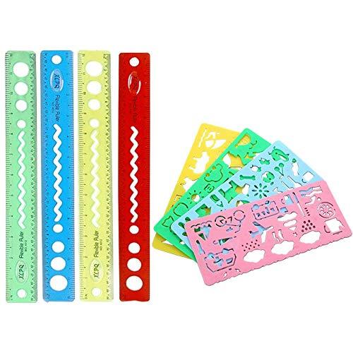 8 piezas Reglas Flexibles y Reglas de Plantillas Geométricas, Reglas de Plástico Flexible de 30 cm / 12 Pulgadas, Juego de Reglas de Plantilla Geométrica Hueca de Plástico, para la Oficina en el Aula