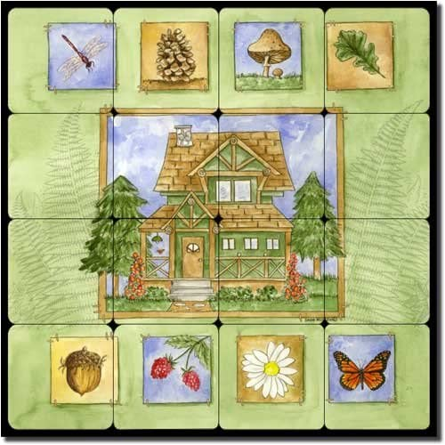 sold out Cabin in the All items free shipping Woods by Sara Mullen Marble Til Art Lodge Tumbled -