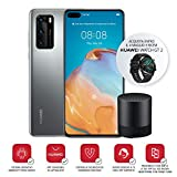 Huawei P40 Smarthphone e Bluetooth Speaker, Acoustic Display da 6.1', Tripla Fotocamera Leica da 50+16+8MP, Kirin 990 5G Octa Core, Argento (Versione Italiana)