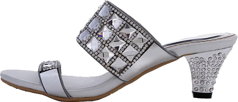 Salabobo Womens Wedding Work Job Leisure Fahion Slip On Rhinestone Sandals MX-T009