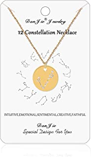 Meaningful Necklace,14K Gold Plated Astrology Horoscope Constellation Zodiac Coin Necklace,Boho Style Choker Dainty Necklace for Women and Girls