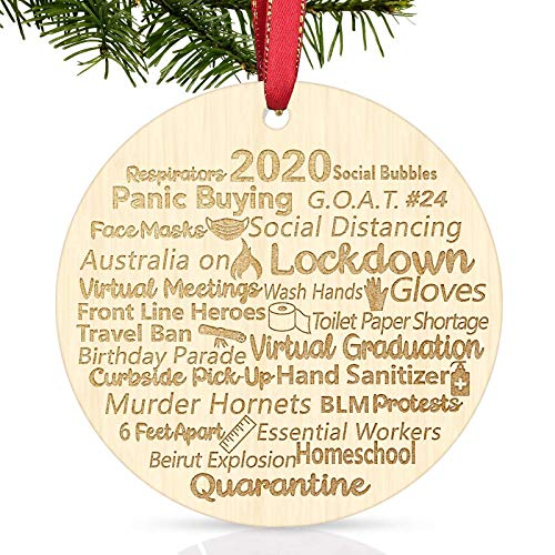 Svnntaa 2020 Wood Slice Christmas Ornament, Engraved Wood 2020 Events Rustic Quarantine Pandemic Christmas Ornament, Holiday Xmas Tree Decorations Ornament,Funny Quarantine Gifts for Friends Families