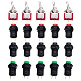 Twidec/Each 5 12mm SPST Self-Locking Latching Push Button Switch 3 Color + 5Pcs 2 Position 2 Pins ON-Off SPST Mini Toggle Switch L-DS-427-3C-101