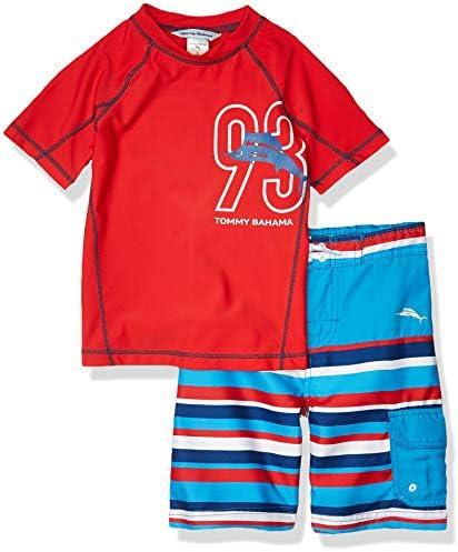 Tommy Bahama Boys Rashguard and Trunks Swimsuit Set Orange Stripes 5 product image