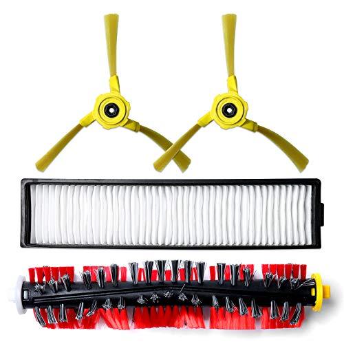 Remplacement filtre, brosse pour LG Hom Bot VR6270LVM VR65710 VR6260LVM Series Robot Aspirateurs Pièces de rechange, 1 filter+1 central roller brush+2 side brushes