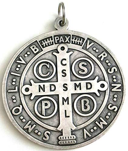 GTBITALY - Medalla de San Benito plateada para exorcismo, 10 cm, ref. 60.400.30, para curas, sacerdotes, iglesias, monjas