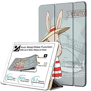 DuraSafe Cases for iPad PRO 12.9 Inch 2015 1st Generation [ Pro 12.9 1 ] Printed Slim Lightweight Protective PC Dual Angle Stand Clear Flip Back Cover - Bunny Hat