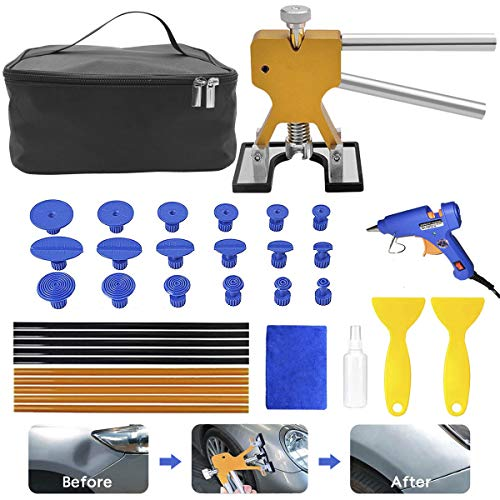 MENQANG Dent Repair Kit Werkzeuge, Body Dents Remover Kit 36 TLG Repair Tools Dellen Repair Tool Dellen Repair Pen und Gummihammer (Golden)