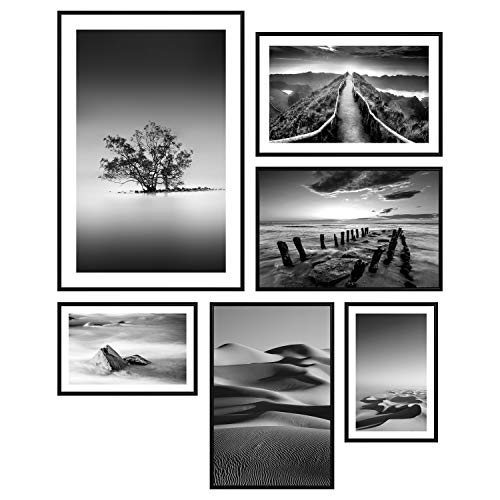 decomonkey | Poster 6er – Set schwarz-weiß Abstrakt Kunstdruck Wandbild Print Bilder Kunstposter Wandposter Posterset Landschaft Meer Strand Baum Natur Wildnis