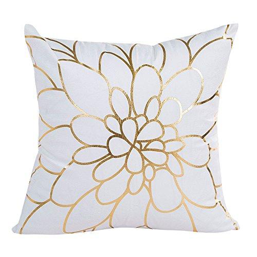 Reooly lámina de Oro Impresa Funda de Almohada sofá Cintura Almohadilla Cubierta decoración del hogar 45cmX45cm