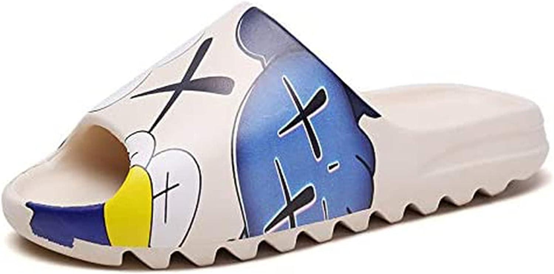 ZHKJ Unisex Slide Sandal Summer Slippers Non-Slip Soft Platform Pool Cartoon Slides, Indoor & Outdoor House Slides Slippers, Lightweight EVA Slides for Men Women Teenagers (Blue,12 Women/10 Men)