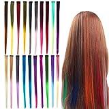 YZCX 20pcs Extensiones de Cabello Clip de Multicolor Postizos Sintético Hair Extensiones de Pelo Pelucas para Piezas de Cabello de Rendimiento de Fiesta de Cosplay con Clip Invisible 50cm