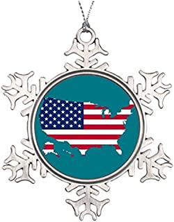 Metal Ornaments Usa country Xmas Trees Decorated Snowflake Christmas Decorations